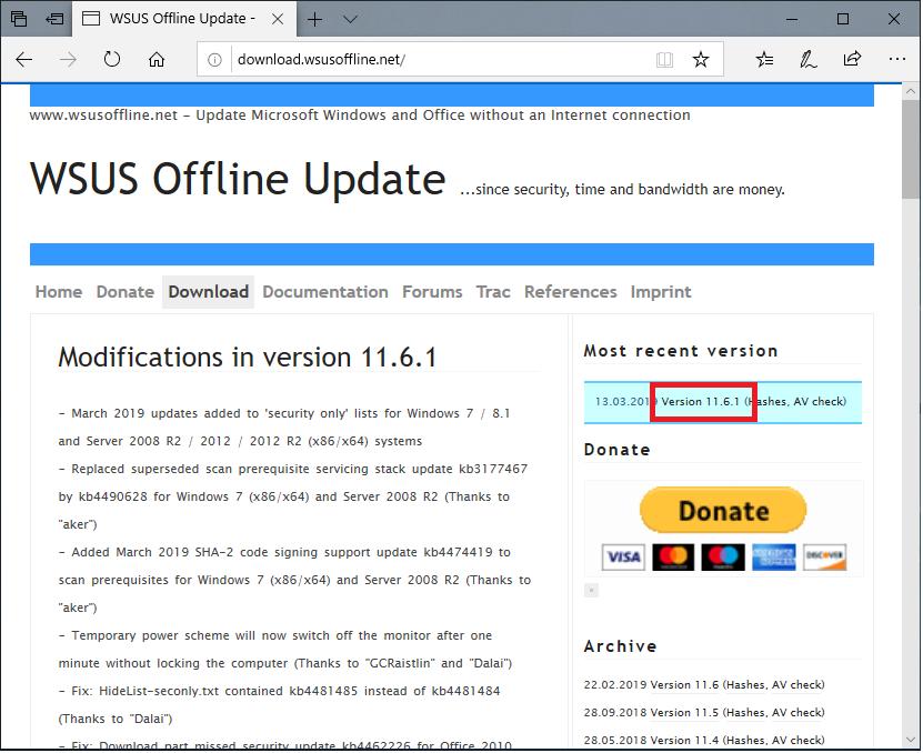 オフラインで手動Windows Update【WSUS Offline Update